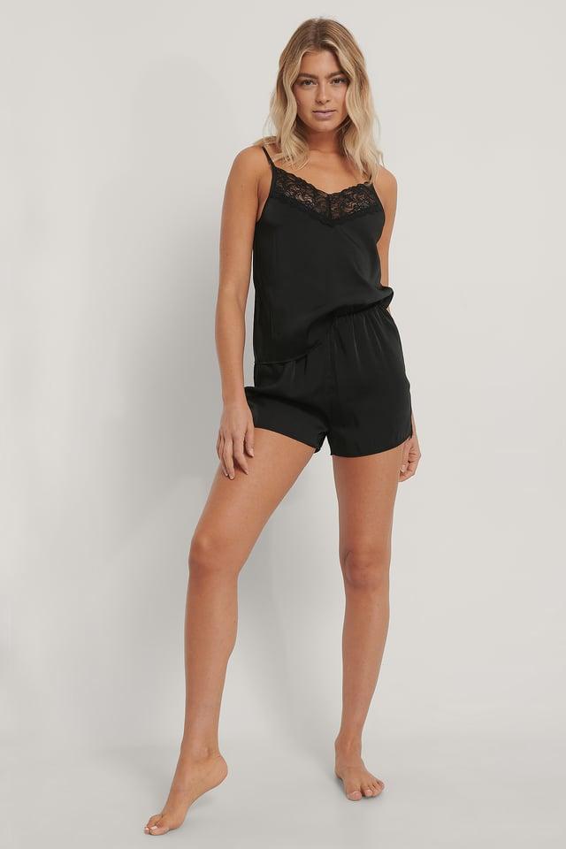 Lace Edge Night Satin Shorts Black