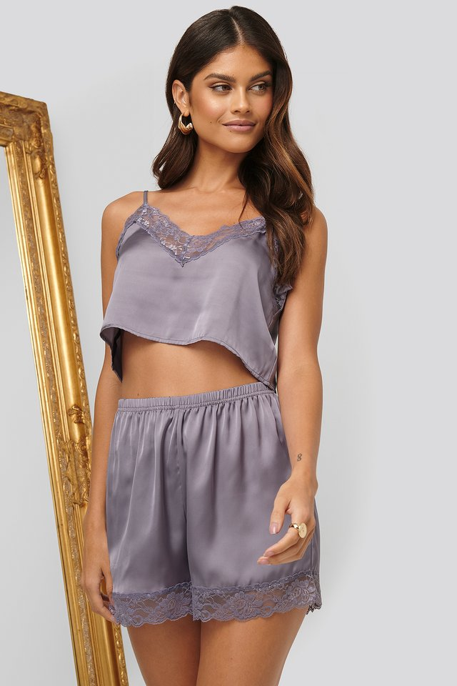 Lace Edge Night Shorts Dusty Purple