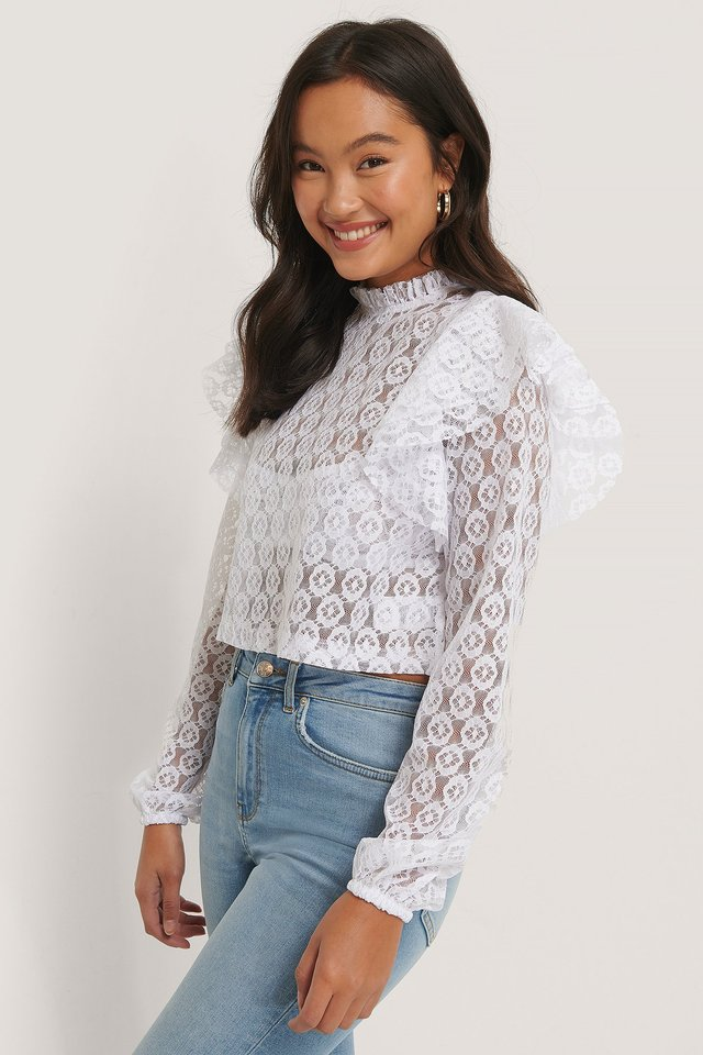 Lace Frill Top Pelican Bay x NA-KD