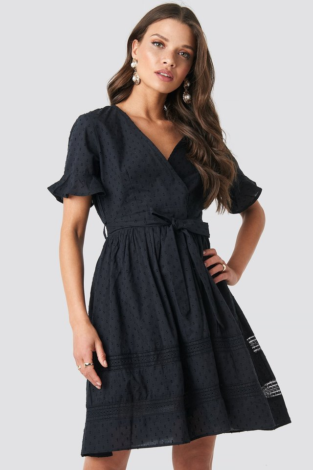 Lace Insert Cotton Mini Dress Black