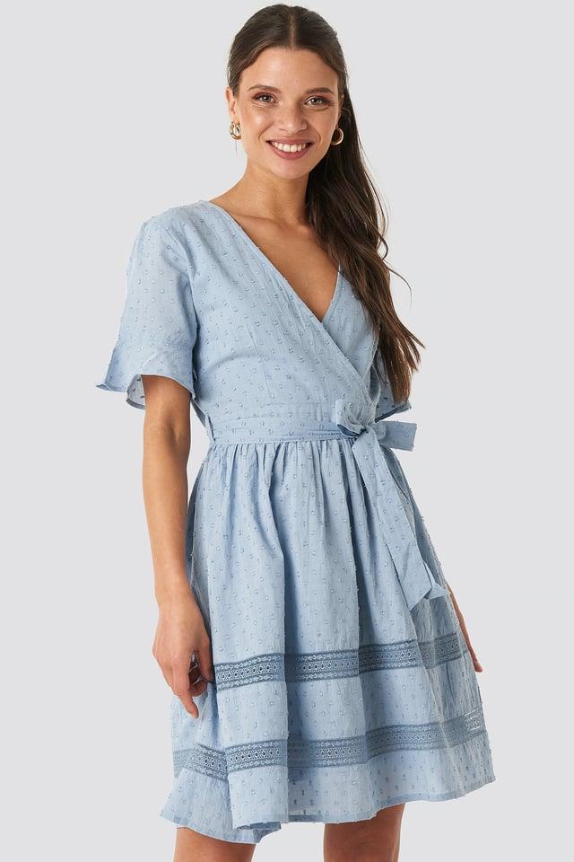 Lace Insert Cotton Mini Dress Dusty Blue