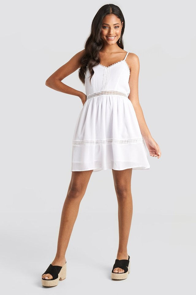 Lace Insert Flowy Mini Dress White