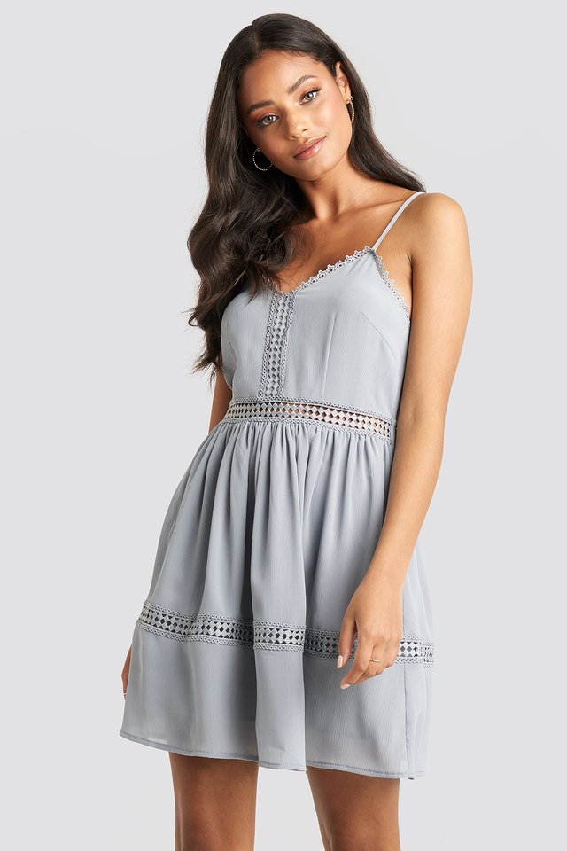 Dusty Blue Lace Insert Flowy Mini Dress