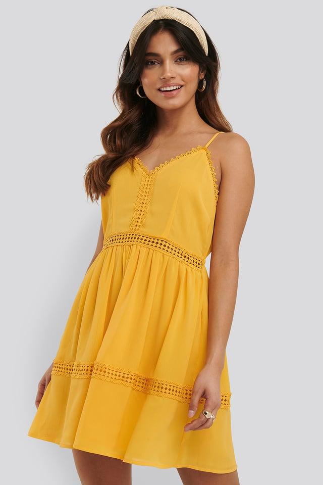 Lace Insert Flowy Mini Dress Citrus