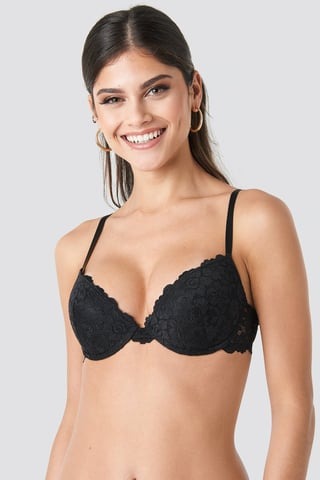 Black Lace Padded Cup Bra