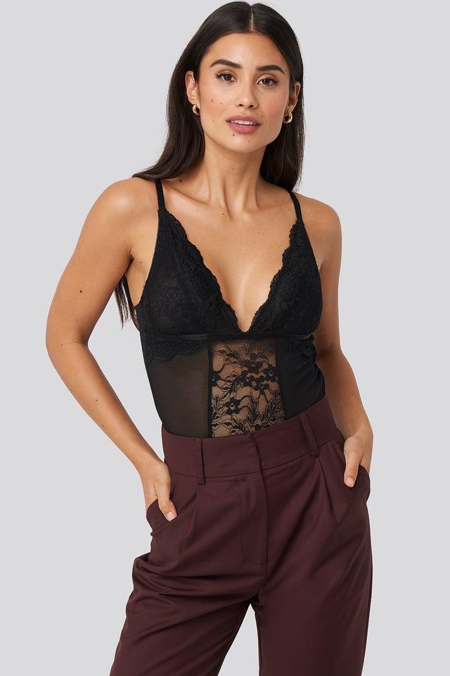 Lace Panel Bodysuit Black
