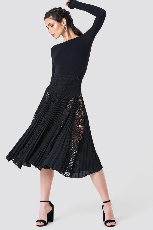 Lace Pleated Midi Skirt Black