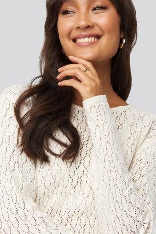 White Lace Stitch Round Neck Sweater