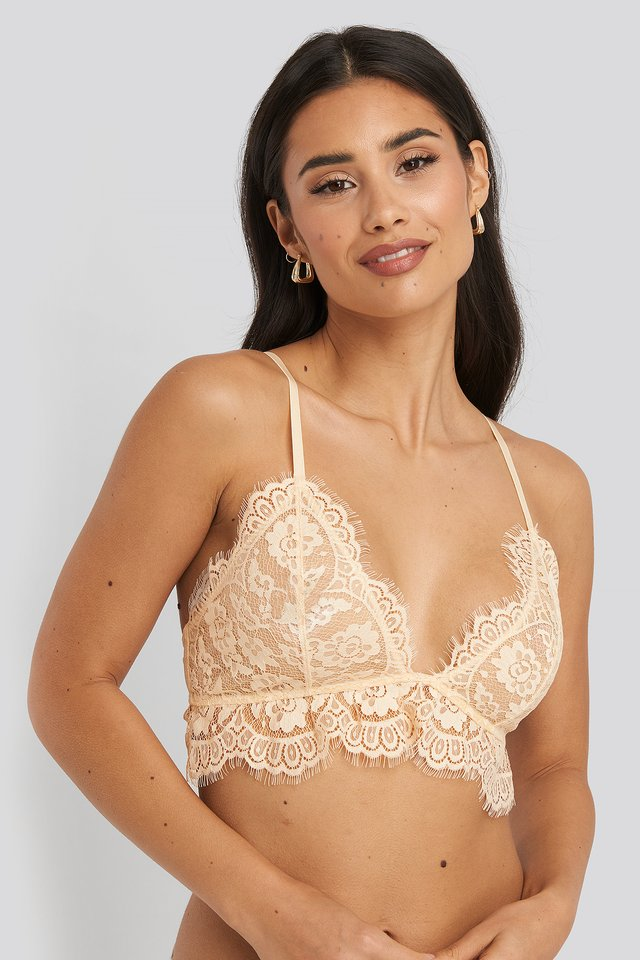 Lace Strap Bra Cream