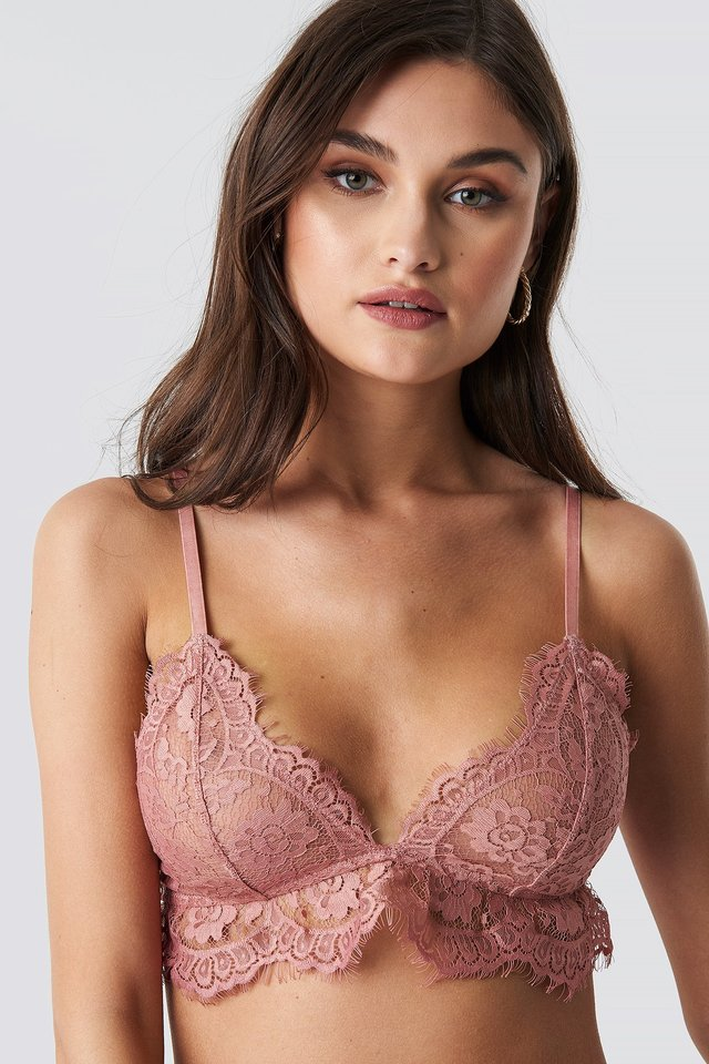Lace Strap Bra Pink Umber