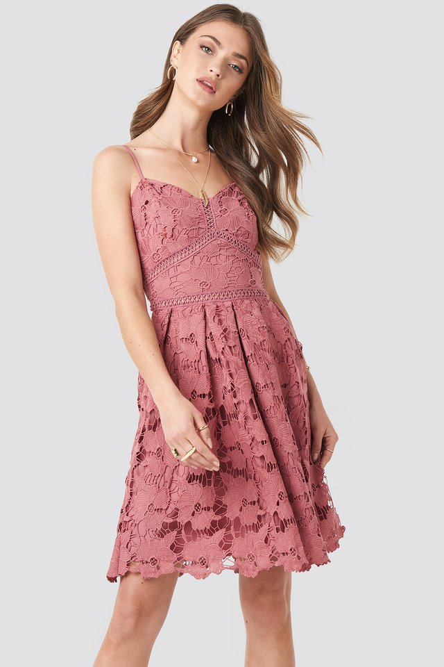 Lace Strap Dress Rose Pink