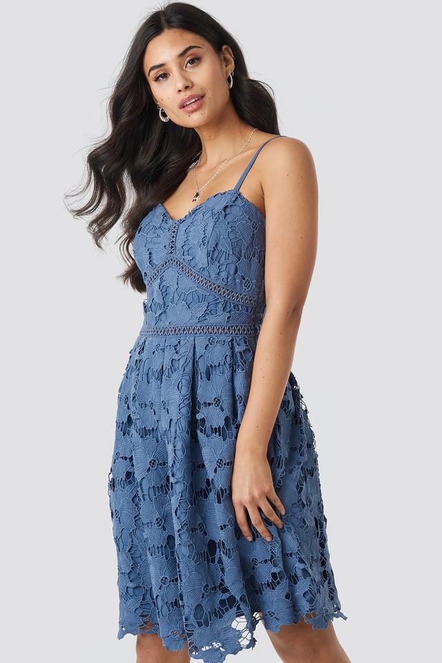 Lace Strap Dress Dusty Dark Blue