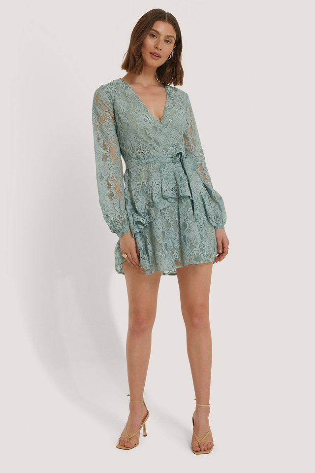 Marszczona Koronkowa Sukienka Light Blue
