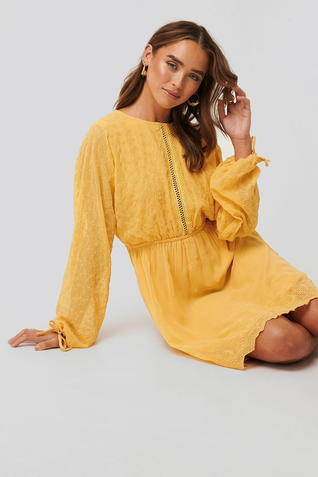 Lace-Up Back Mini Dress Light Yellow