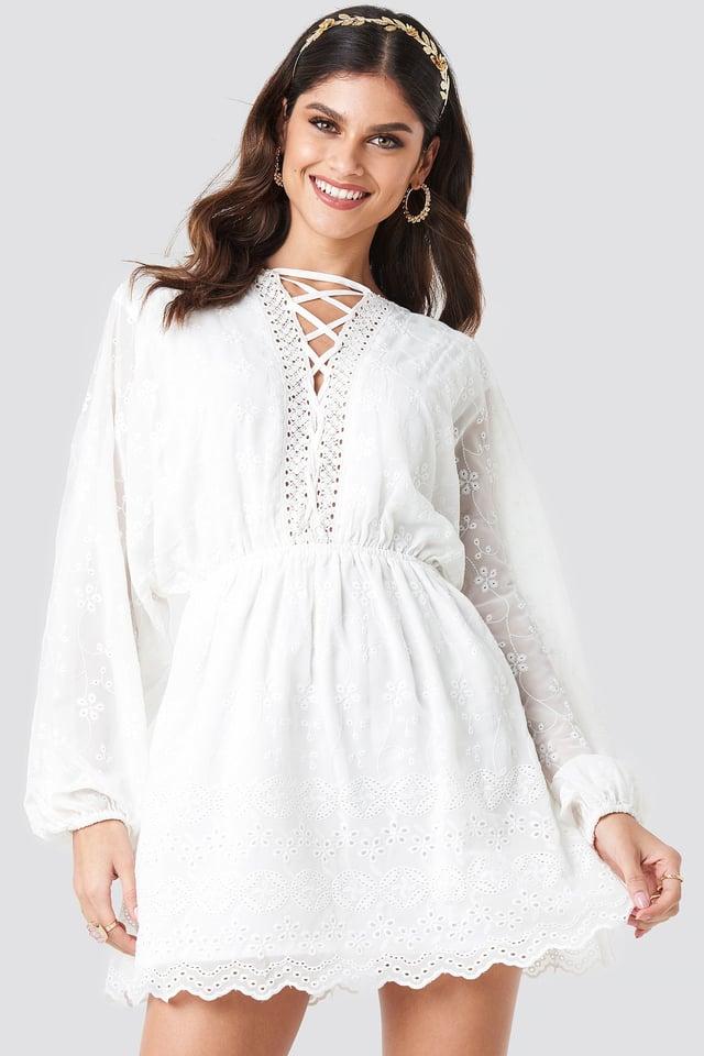 Lace Up Lace Dress White