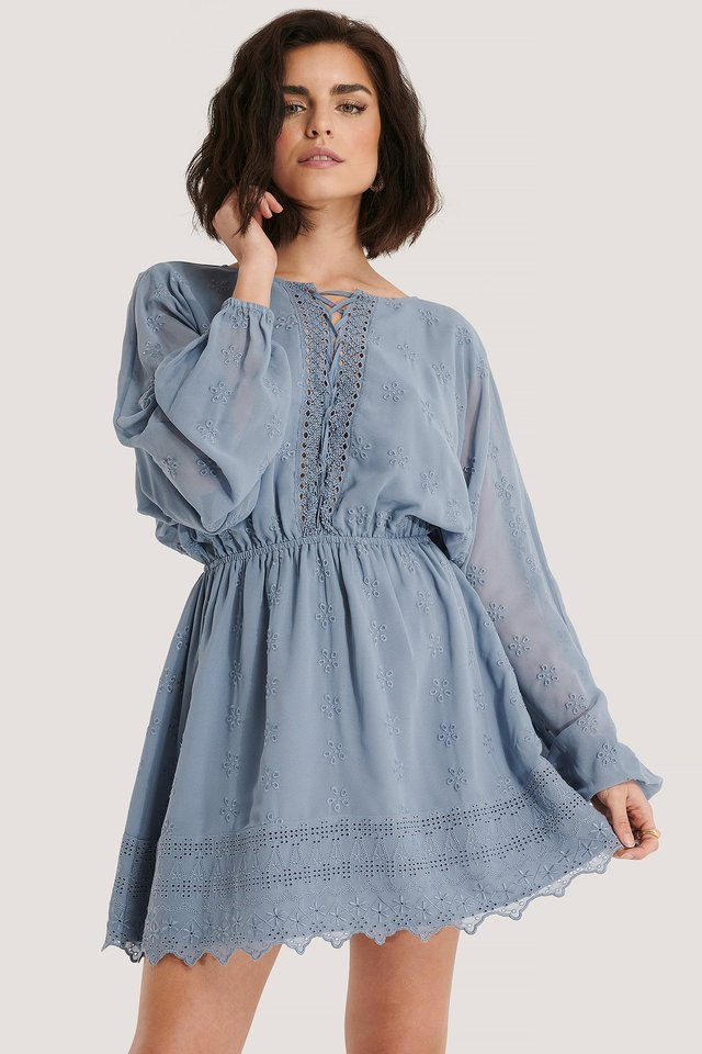 Lace Up LS Mini Dress Dusty Blue