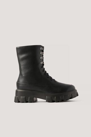 Black Chunky Boots Med Snörning I Skaften