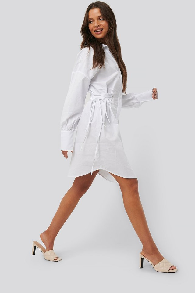 Lace Up Shirt Dress White