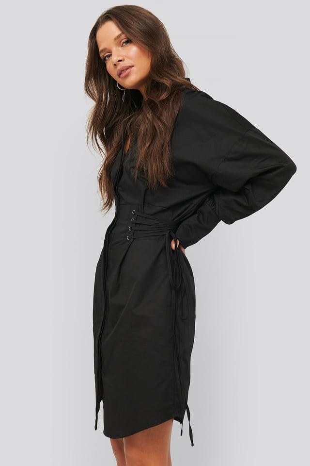 Lace Up Shirt Dress Black
