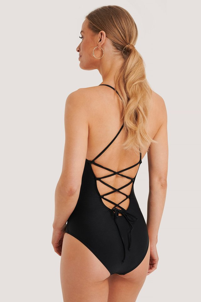 Lacing Back Swimsuit Black