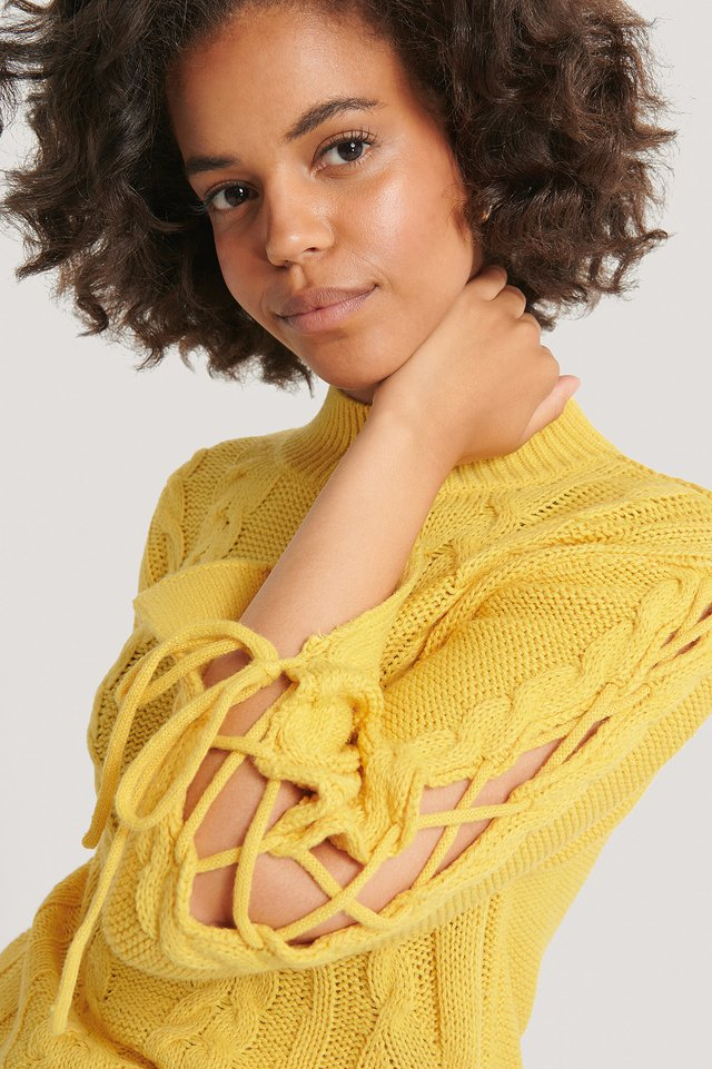 Dusty Yellow Lacing Detail Knitted Sweater