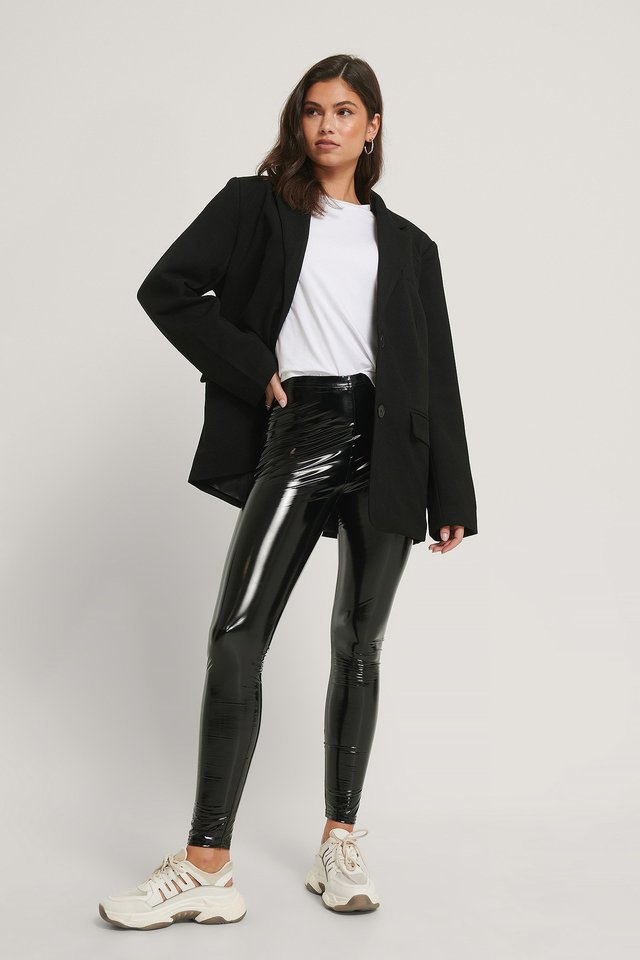 Lacquered Leggings Black