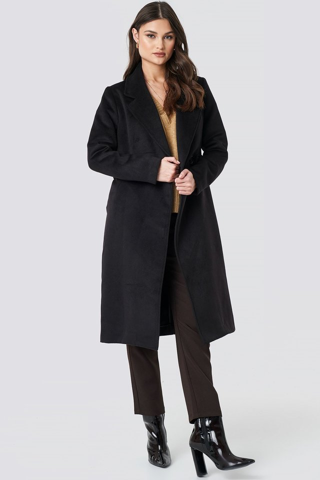 Lapel Collar Long Coat Black