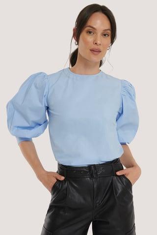 Light Blue Large Cuff Puff Cotton Blouse