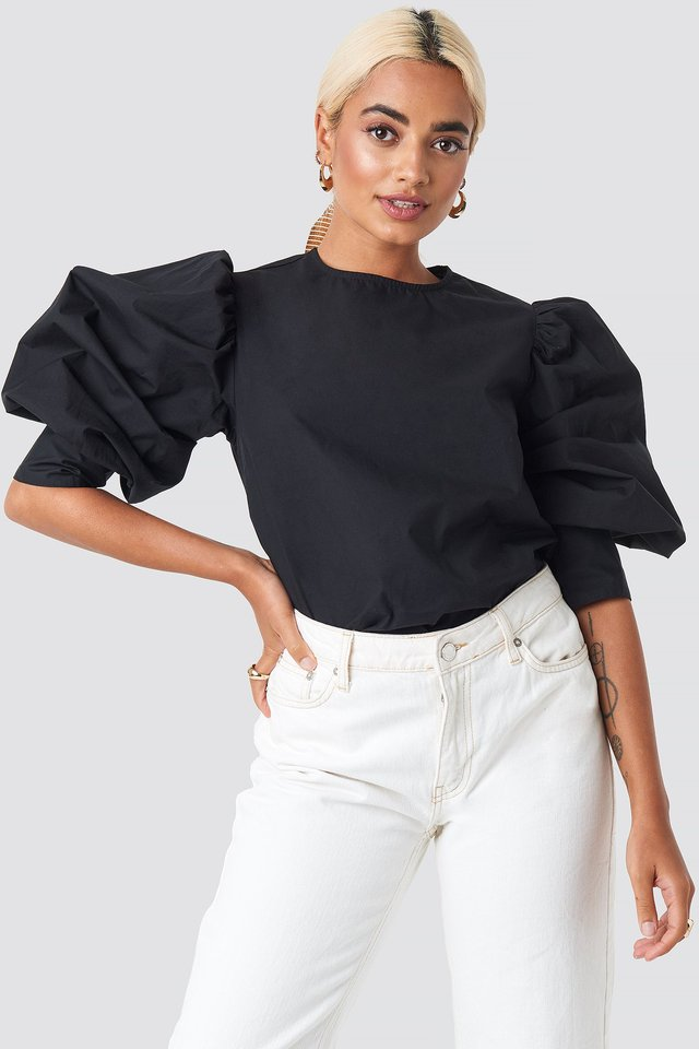 Large Cuff Puff Cotton Blouse Black