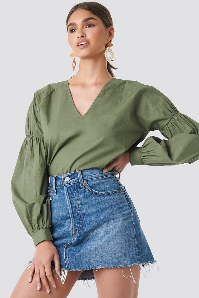 Large Sleeve V-Neck Cotton Blouse Khaki