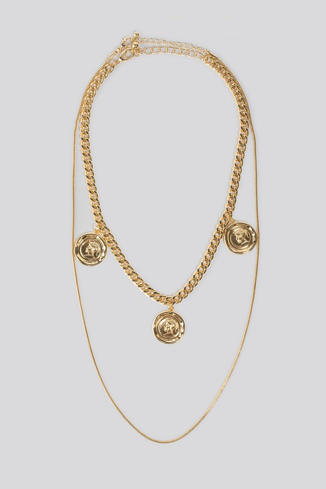 Layered Chain Coin Necklace Gold