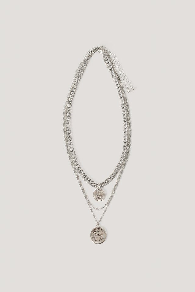 Layered Coin And Chain Necklaces Silver