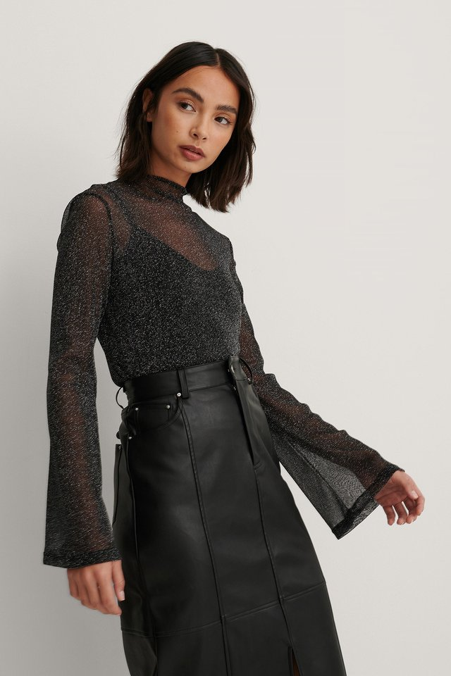 Black Layered Lurex Top