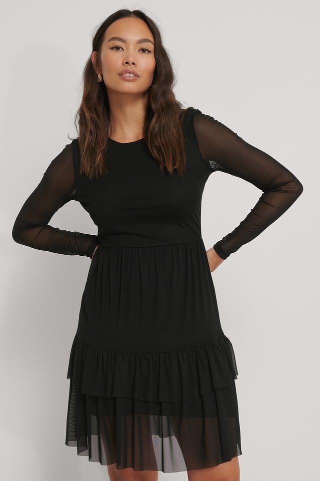 Vestido De Malla En Capas Black
