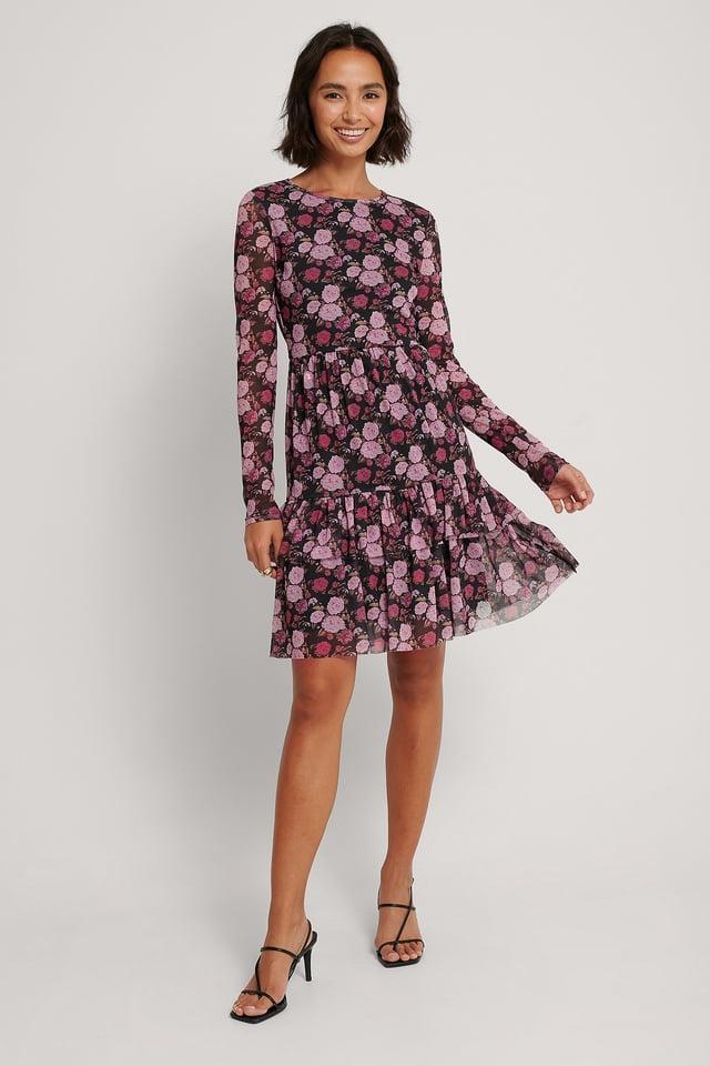 Vestido De Malla En Capas Rose Print