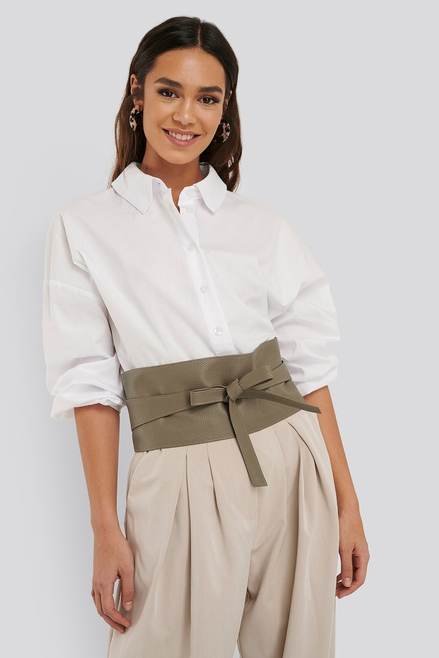 Layered Oversize Waist Belt Dusty Green
