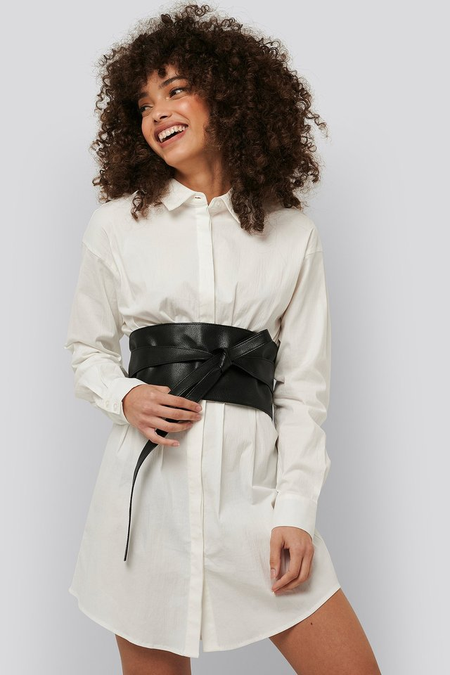 Layered Oversize Waist Belt Black