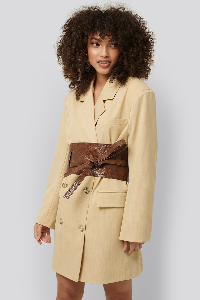 Layered Oversize Waist Belt Brown Croco