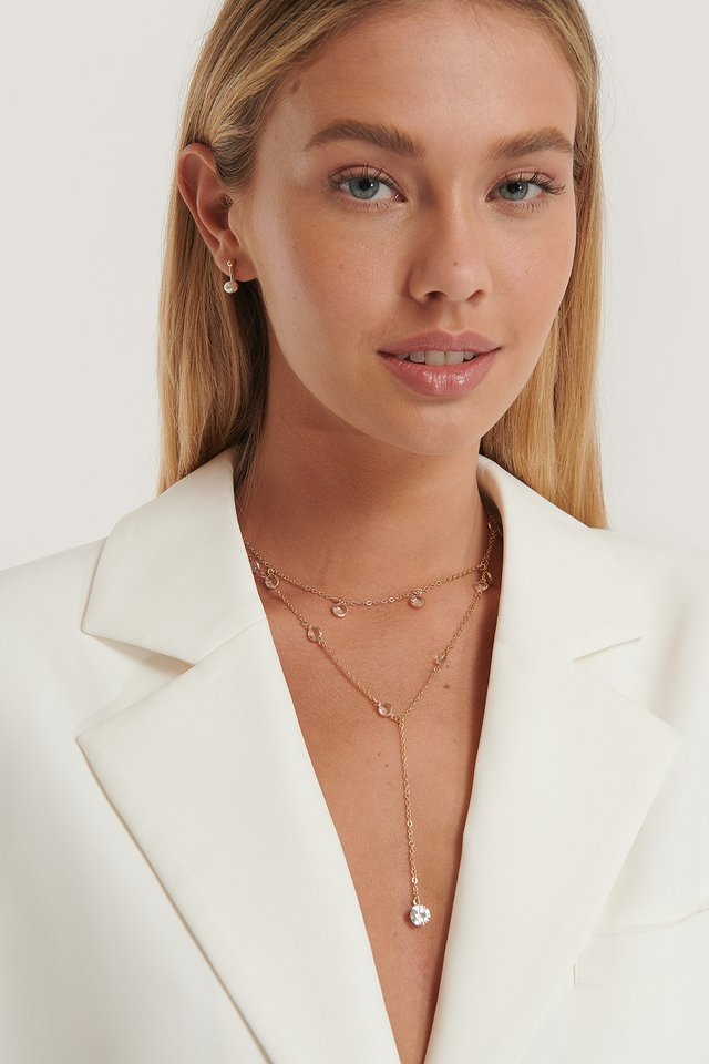 Layered Sparkle Detailed Drop Necklace Gold