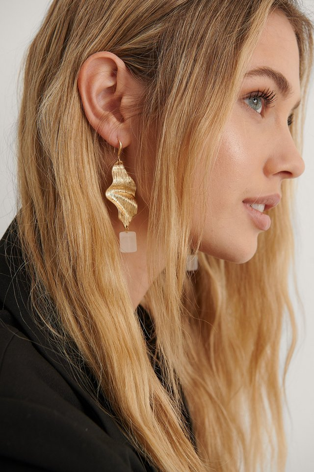 Gold Leaf Cube Earrings