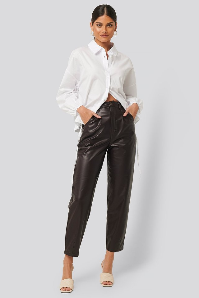 Faux Leather Ballon Leg Pants Brown