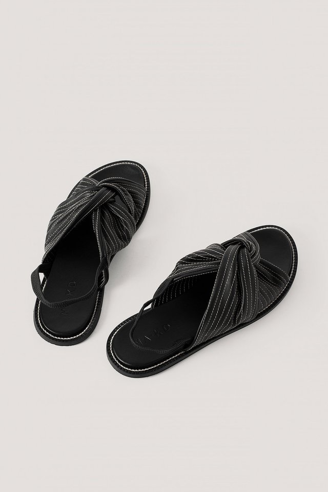 Black Leather Seam Detail Knotted Sandals