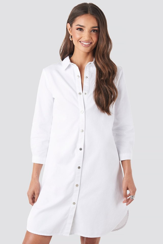 3/4 Length Sleeve Denim Shirt Dress White