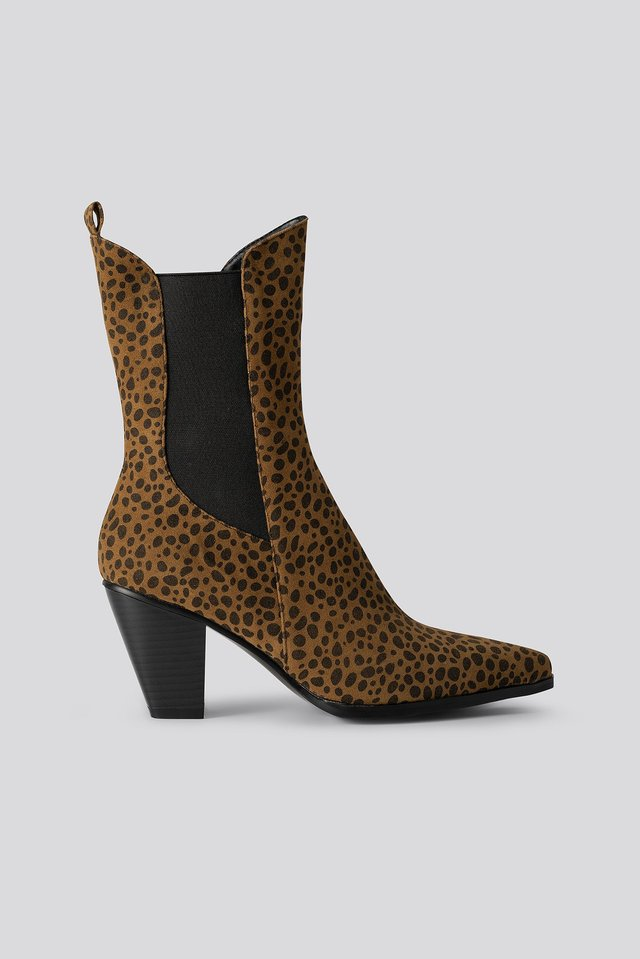 Leo Elastic Detail Calf Boots Brown Leopard