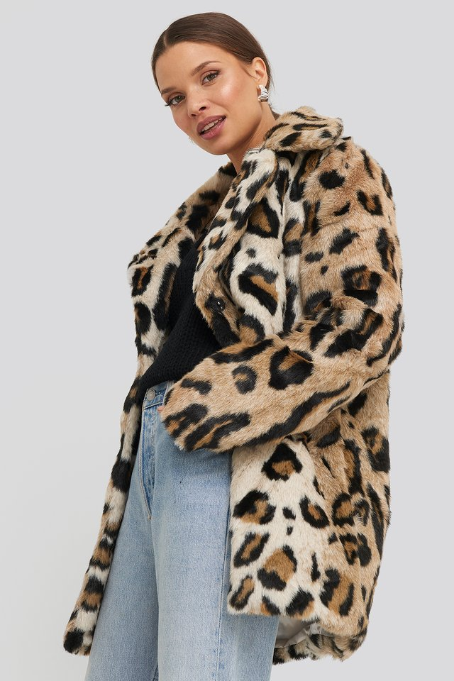 Leo Faux Fur Jacket Leoprint