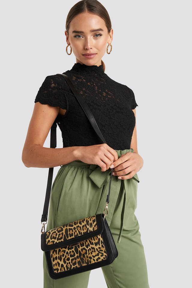Leopard Crossbody Bag Black