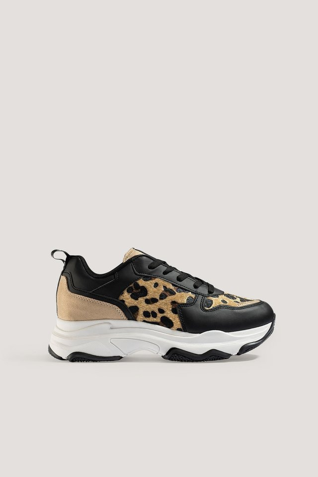 Leopard Detailed Chunky Trainers Leo/Black