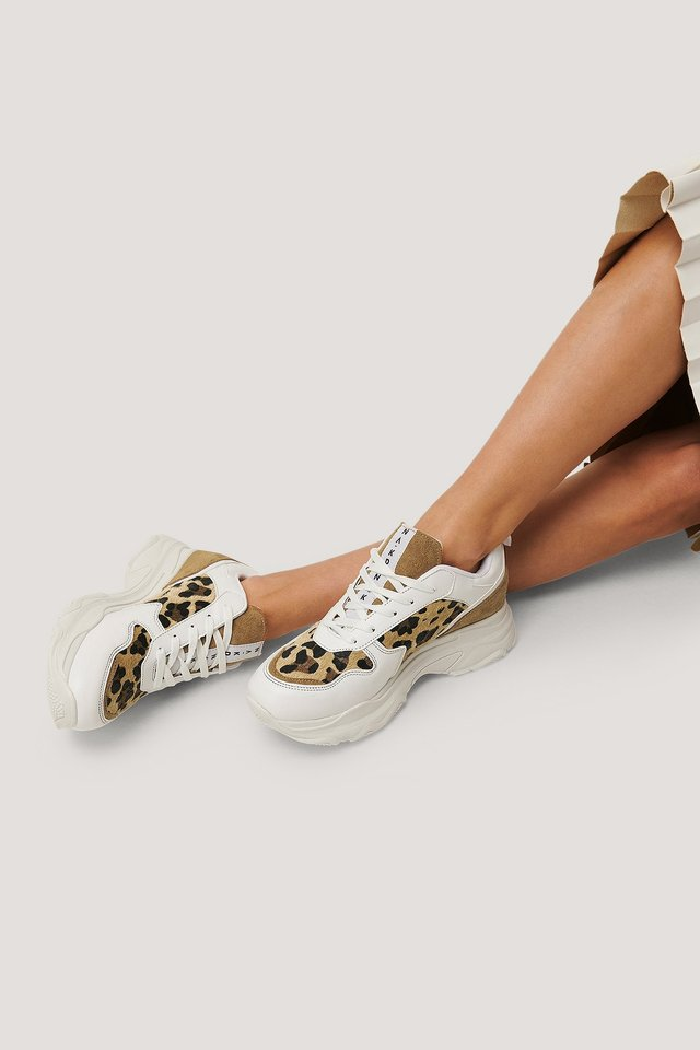 Leopard Detailed Chunky Trainers White/Leopard