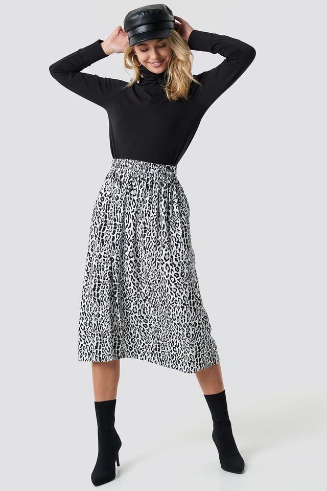 Leopard Midi Skirt Leo White