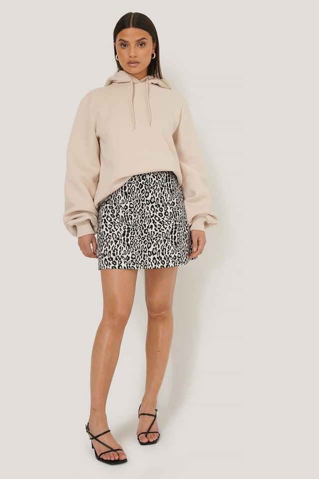 BLACK  WHITE LEO Leopard Print Mini Skirt